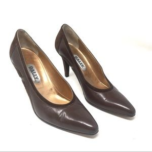 Bally Brown Leather Suede Heels 8.5